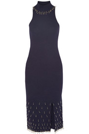Bead-embellished textured stretch-knit dress