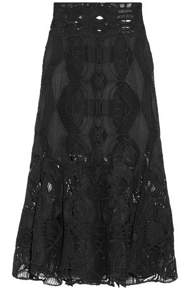 Jonathan Simkhai - Fluted Guipure Lace Midi Skirt - Black