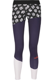 Adidas by Stella McCartney Paneled printed Climalite stretch leggings