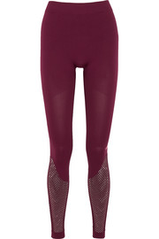 Adidas by Stella McCartney Mesh-paneled Climalite stretch leggings