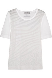 Adidas by Stella McCartney Devoré cotton-blend T-shirt