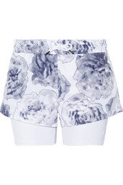 Adidas by Stella McCartney Run layered Climalite printed shell and jersey shorts