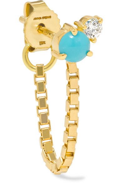 Jemma Wynne - 18-karat Gold, Turquoise And Diamond Earring