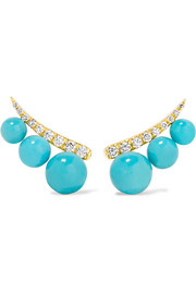 18-karat gold, turquoise and diamond earrings