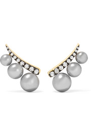 18-karat gold, diamond and pearl earrings