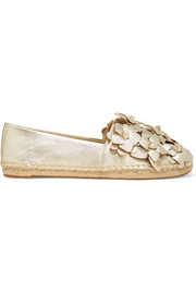 Tory Burch Blossom metallic appliquéd textured-leather espadrilles
