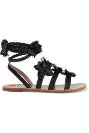 Blossom Gladiator appliquéd leather sandals