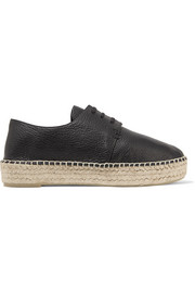 Cynthia textured-leather platform espadrilles