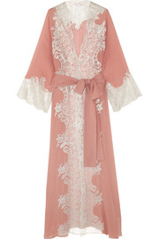 Rosamosario Sweet Sumatra metallic lace-trimmed silk-georgette robe