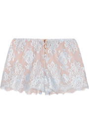 Sweet Sumatra lace and silk-chiffon pajama shorts