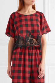 Rosamosario Love Moon in Isle of Skye lace-trimmed checked silk pajama top