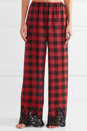 Rosamosario Love Moon in Isle of Skye lace-trimmed checked silk pajama pants