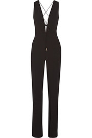 Claudia lace-up crinkled stretch-crepe jumpsuit