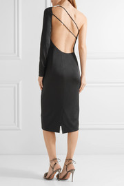 Claudia one-shoulder stretch-satin jersey midi dress