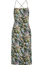 Donna open-back floral-print stretch-cady dress