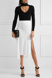 Asymmetric ribbed-knit midi skirt
