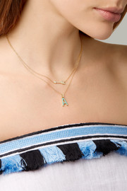 18-karat gold, diamond and turquoise necklace