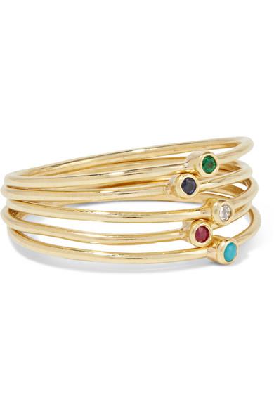 Jennifer Meyer - Set Of Five 18-karat Gold Multi-stone Rings