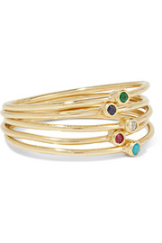 Jennifer Meyer Set of five 18-karat gold multi-stone rings