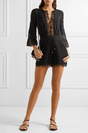 Rita silk chiffon-timmed crepe de chine and lace playsuit