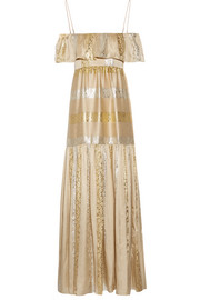 Off-the-shoulder metallic silk-blend jacquard maxi dress
