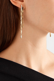 Eddie Borgo Twill Fringe gold-plated cubic zirconia earrings