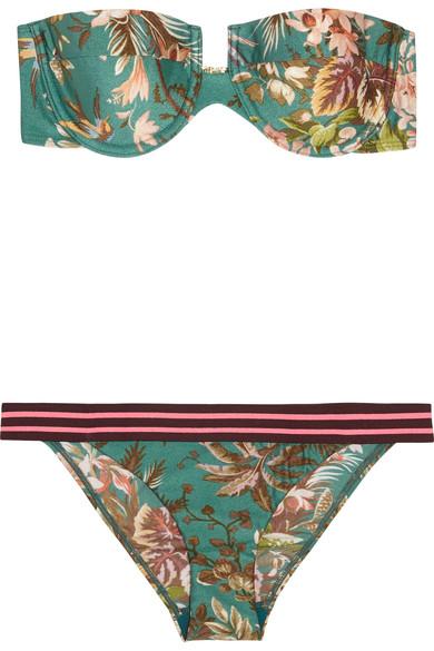 Zimmermann - Tropicale Printed Bandeau Bikini - Green