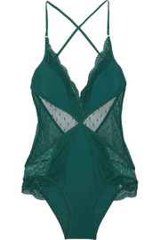 Zimmermann Tropicale lace and point d'esprit-paneled swimsuit
