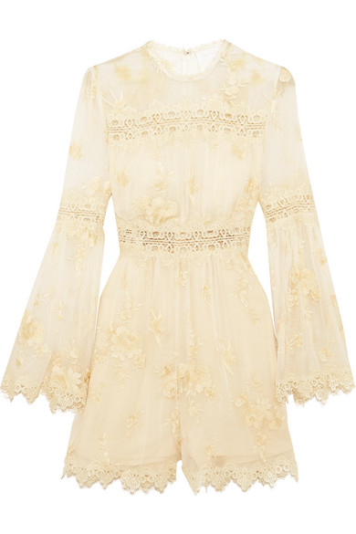 zimmermann female zimmermann tropicale antique lacetrimmed embroidered silkgeorgette playsuit ivory