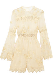 Zimmermann Tropicale Antique lace-trimmed embroidered silk-georgette playsuit