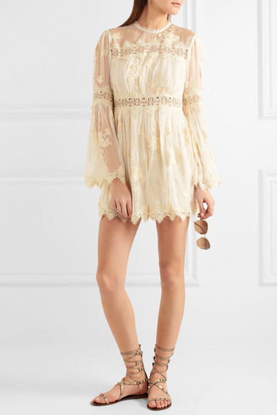 a47096d49c Tropicale Antique lace-trimmed embroidered silk-georgette playsuit