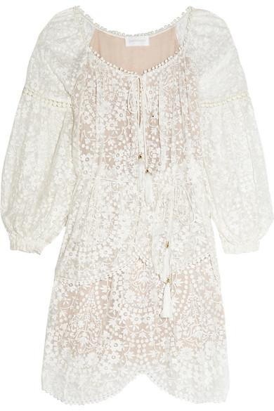 zimmermann female zimmermann embroidered silkgeorgette dress ivory