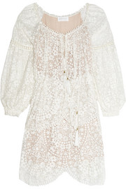 Zimmermann Embroidered silk-georgette dress
