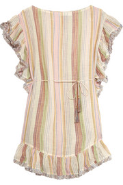 Zimmermann Tropicale fringed striped cotton-blend dress