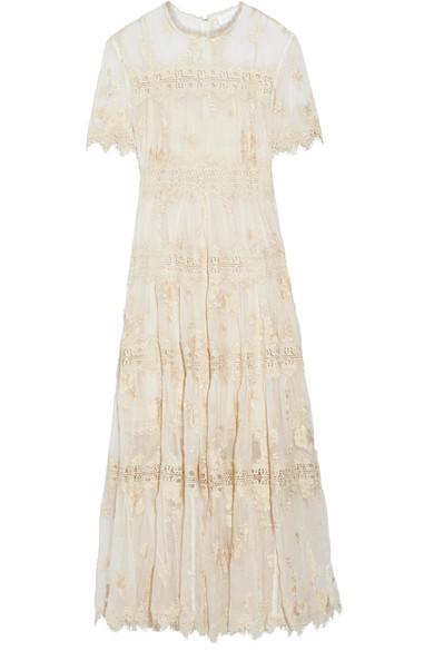 zimmermann female zimmermann tropicale antique lacetrimmed crinkled silkchiffon dress ivory