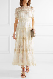 Zimmermann Tropicale Antique lace-trimmed crinkled silk-chiffon dress