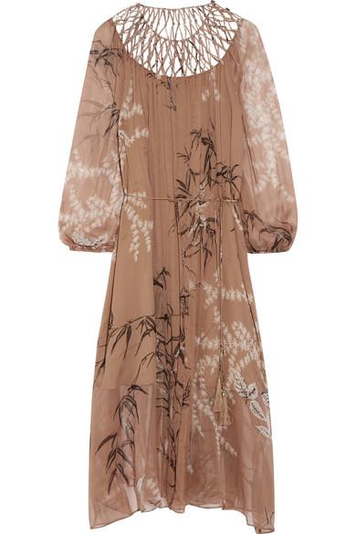 zimmermann female zimmermann tropicale latticepaneled printed silkchiffon dress sand