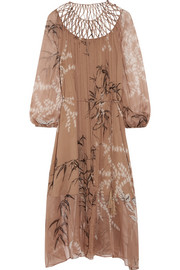 Zimmermann Tropicale lattice-paneled printed silk-chiffon dress