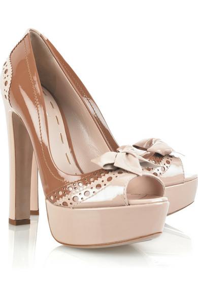 0a92ac2a1f8 Miu Miu. Patent-leather peep-toe pumps