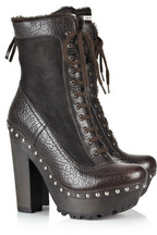 Miu Miu Shearling-lined lace-up platform boots