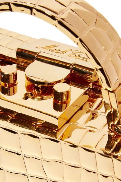 66b9b4c6fcff Mark Cross. Grace mini croc-effect gold-plated shoulder bag. €1