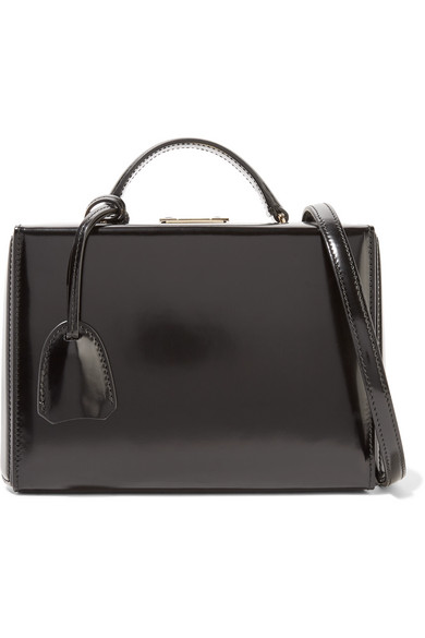 Grace Small Glossed-leather Shoulder Bag - Black Mark Cross