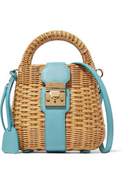 Mark Cross Manray textured leather-trimmed rattan shoulder bag