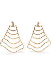 Arme De L'Amour Wave Stripe gold-plated earrings