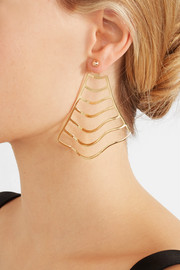 Wave Stripe gold-plated earrings