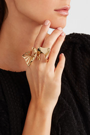 Ruffle gold-plated ring