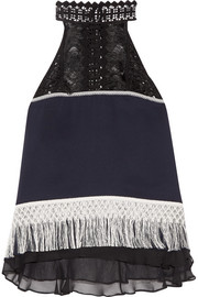 Jonathan Simkhai Fringed guipure lace and chiffon-trimmed silk-crepe top