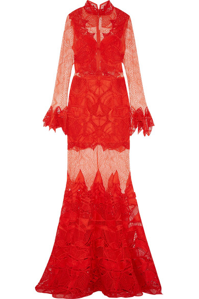 Jonathan Simkhai - Guipure Lace Gown - Red