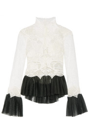 Jonathan Simkhai Tulle-trimmed guipure lace top