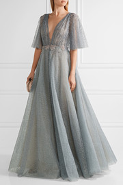 Marchesa Embellished flocked glittered tulle gown